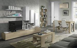 Mueble de comedor salón TV, salon moderno, Blanco Brillo y Nature, Design