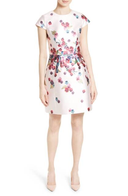 f25eb8b64e18 New  335 Ted Baker London Ibia Baby Pink Floral Print Sheath Dress 1TB 4US