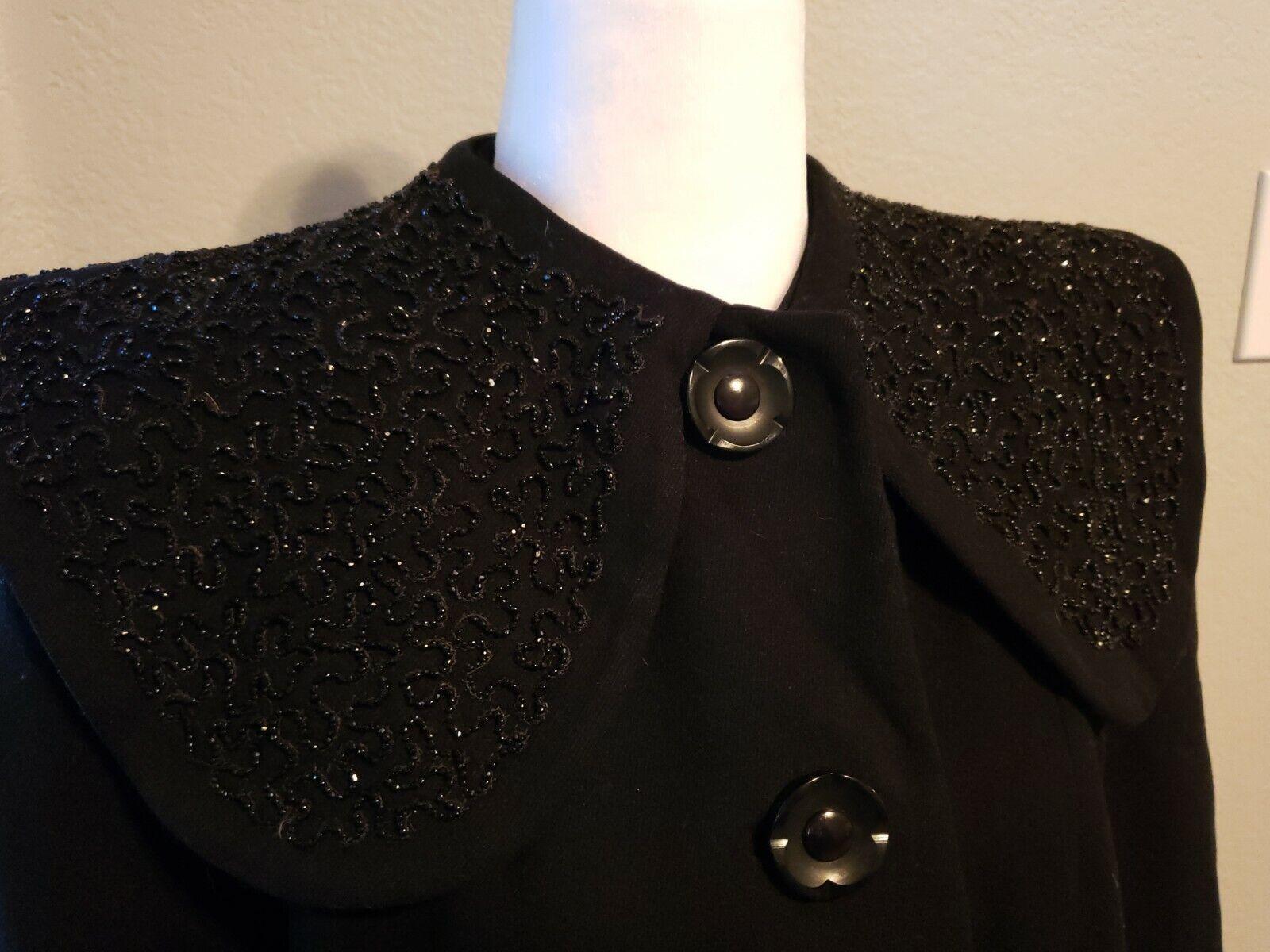 Vtg 40's 50's Mademoiselle Inc Wool Black Beaded … - image 2