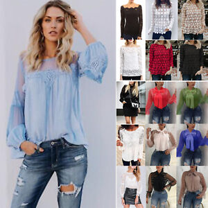 Women-Lace-T-Shirt-Long-Sleeve-Patchwork-Sheer-Blouse-Ladies-Casual-Loose-Top-US