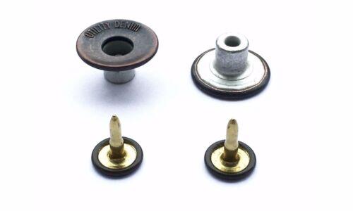 10-500 17mm Dark Bronzes Jean Studs Buttons with Pins Mens Fly Denim Brass