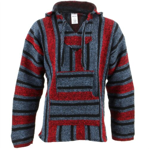 Mexican Baja Jerga blue and red hooded hippie top