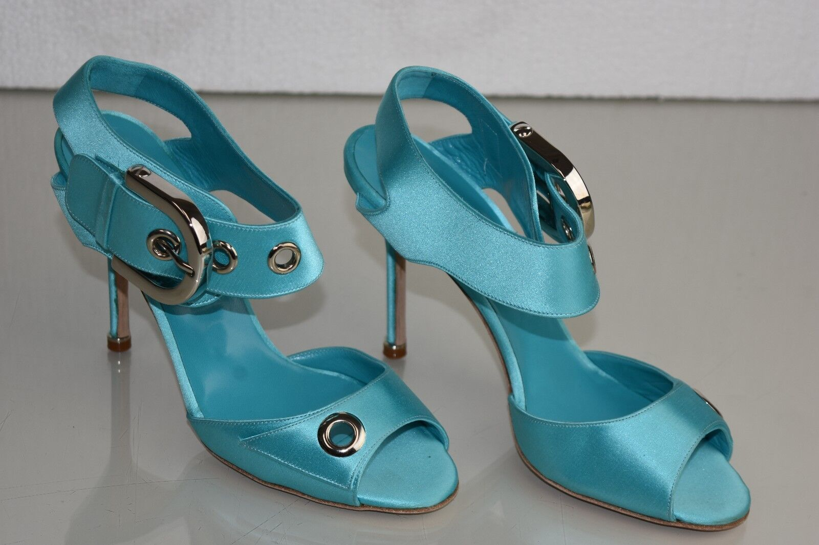 1165 New Manolo Blahnik Turquoise Satin Silver Buckle Sandals Heels shoes 39