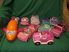 LOT of 9 Polly Pocket Cars Including Limo and Airplane