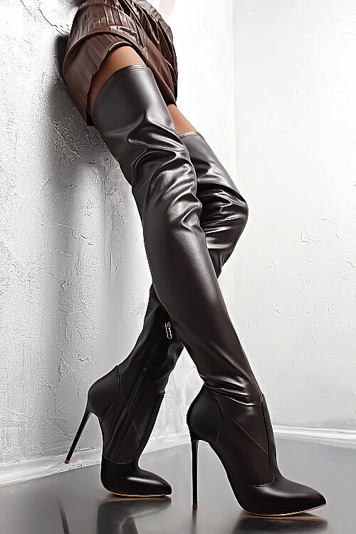 MADE IN STRETCH ITALY HIGH HEELS STRETCH IN PK8 OVERKNEE LUXUS Stiefel STIEFEL LEDER BRAUN 37 0a7e3e