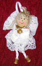 "Wood Head w White Lace Dress 6 1/2"" Girl Angel Figurine"