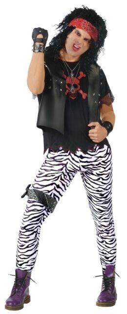 Zebra Print Stretch Pants 80s Tights Adult Black White Mens Womens Rocker Punk