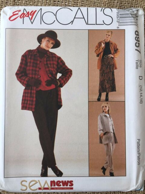 Mccalls 8957 Jacket Vest Pants Skirt Uncut Paper Pattern Size 8 12