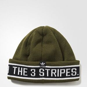 bc00e02a6ef New Mens Adidas Originals Rib Logo 3 Stripes Taping Chunky Beanie ...