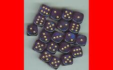 6  12MM CHX27867 ROYAL PURPLE W/GOLD D6 DICE WARHAMMER 40K NECROMUNDA