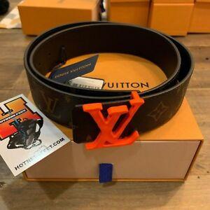 Details about Louis Vuitton X Virgil Abloh 40mm Orange Monogram Brown LL  Logo Belt Size: 90