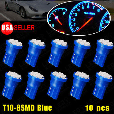10 X Blue T10 8SMD High Quality Car Light Bulb Dashboard Instrument panel W5W