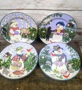 New-Set-of-4-Gibson-Designs-Woodland-Friends-Plates-8-034-Snowman-Christmas-MK11
