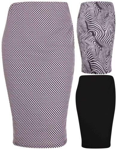 Womens New Animal Spot Print Ladies Stretch Bodycone Tube Pencil Skirt Plus Size