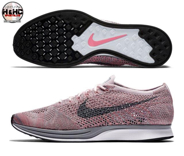 buy online a4804 2cfcf Nike Flyknit Racer Macaroon Pack 526628 604 Pearl Pink Grey Men Sz 12.5  Wmns 14