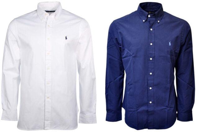 8ace5b03d Ralph Lauren Men's Solid Poplin Longsleeve Button Down Shirt Classic Fit