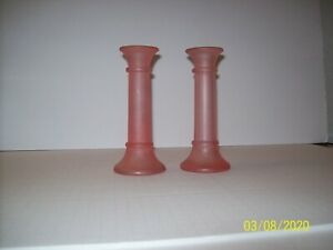Vintage-Pink-Frosted-Glass-Candlesticks-Candle-Holders-7-034-Tall