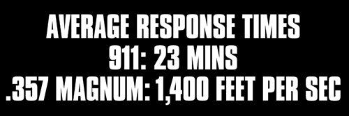 3x9 inch Average Response Time of 911 and .357 Magnum Bumper Sticker pro guns