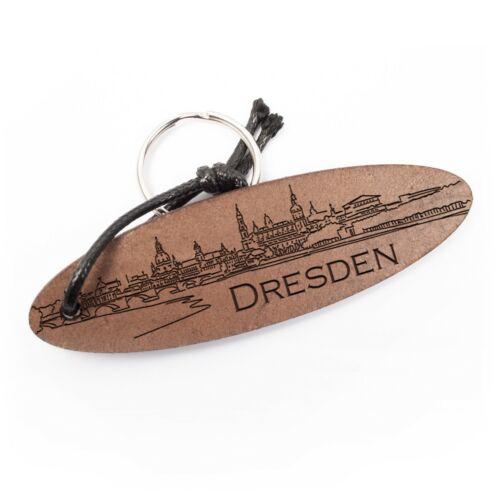 Dresden Schlüsselanhänger aus Echtleder mit Gravur im Used Look