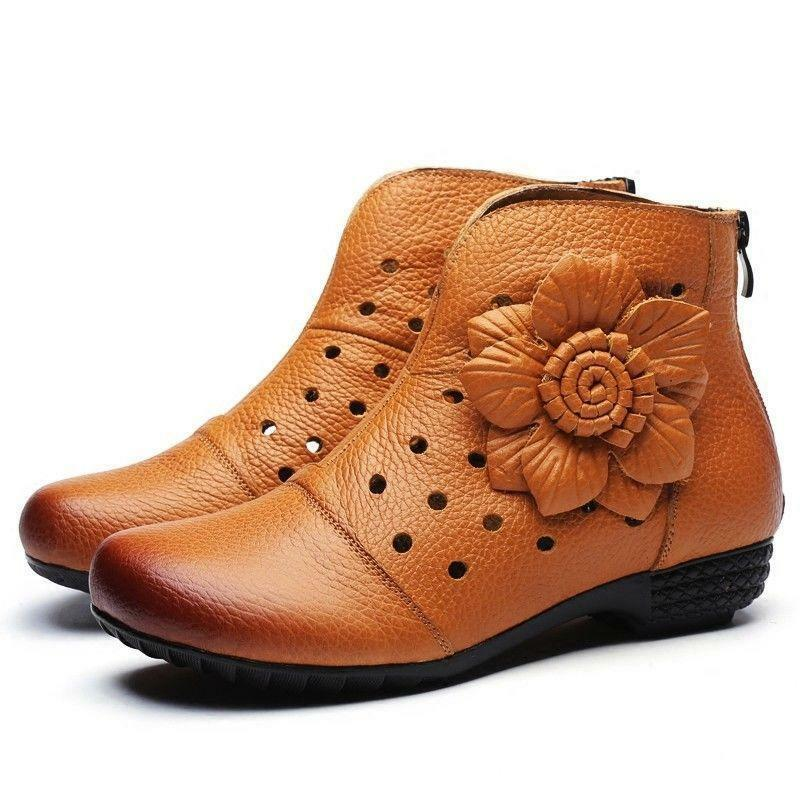 Women Casual Round Toe Flat Comfort Pull On Mother's shoes Ankle Boots Comfy 999