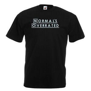 NORMAL-039-S-Overrated-Standard-T-Shirt-Nera-con-Cielo-Stampa-Tutte-le-Taglie-Nuovo