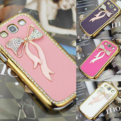 Lady Crystal Bling Deluxe Leather Bow Case Cover For Samsung Galaxy III S3 I9300