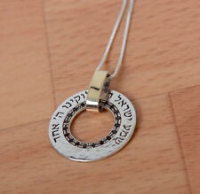 Shema Israel Hebrew Pendant Necklace made from Silver and Gold-Statement Neckles
