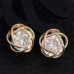 Gold-Surgical-Stainless-Steel-Round-Clear-CZ-Stud-Earrings-Cubic-Zirconia-Prong