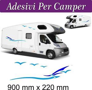 2 Set Adesivi Per Camper - Onde E Gabbiani - Adria Challenger Hobby Mobilvetta Remises Vente