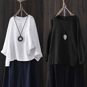 ZANZEA-8-24-Women-Pullover-Top-Tee-Shirt-Crewneck-Loose-Baggy-Long-Sleeve-Blouse