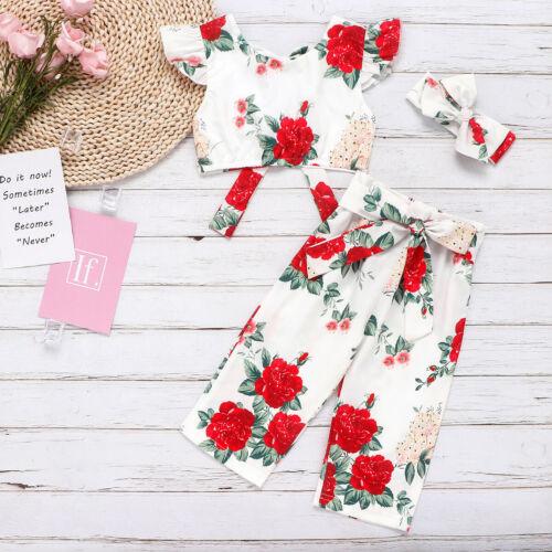 3Pcs Baby Xmas Floral Stretch Kids Tops Girls Tops+Pants+Headband Set Toddler