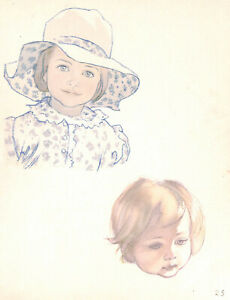 Girls-Cute-Millinery-1943-Charming-J-H-Dowd-Children-039-s-print-Beauty-Fashion-Art