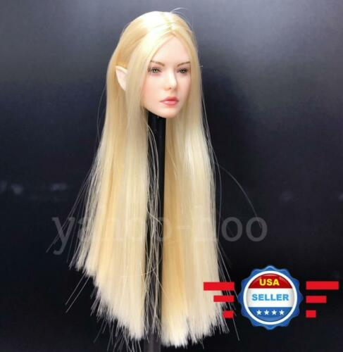 ~IN STOCK~1//6 Fairy Female Head Blonde Hair Detachable Ears for Pale Phicen Body