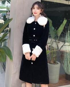 col laine Style de manteau veste Fit poupée Slim noire New en velours de Outwear Womens qFw070f