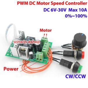 10A PWM DC Motor Speed Controller DC 6V-30V 12V 18V 24V CW CCW Reversible Switch