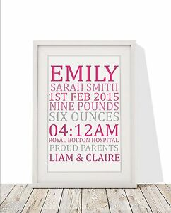 Personalised baby girl framed print frame gift name weight image is loading personalised baby girl framed print frame gift name negle Image collections