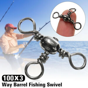 100x-3-Way-Barrel-Fishing-Lures-Swivel-Solid-Rig-Rings-Bearing-Connector-Tackle