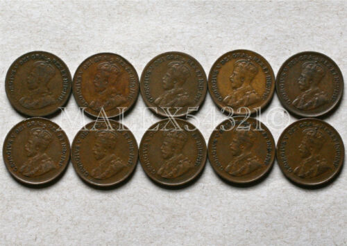 CANADA 1920 TO 1936 SET OF 1 CENT (10 COINS) >>FREE $HIPPING IN CANADA!