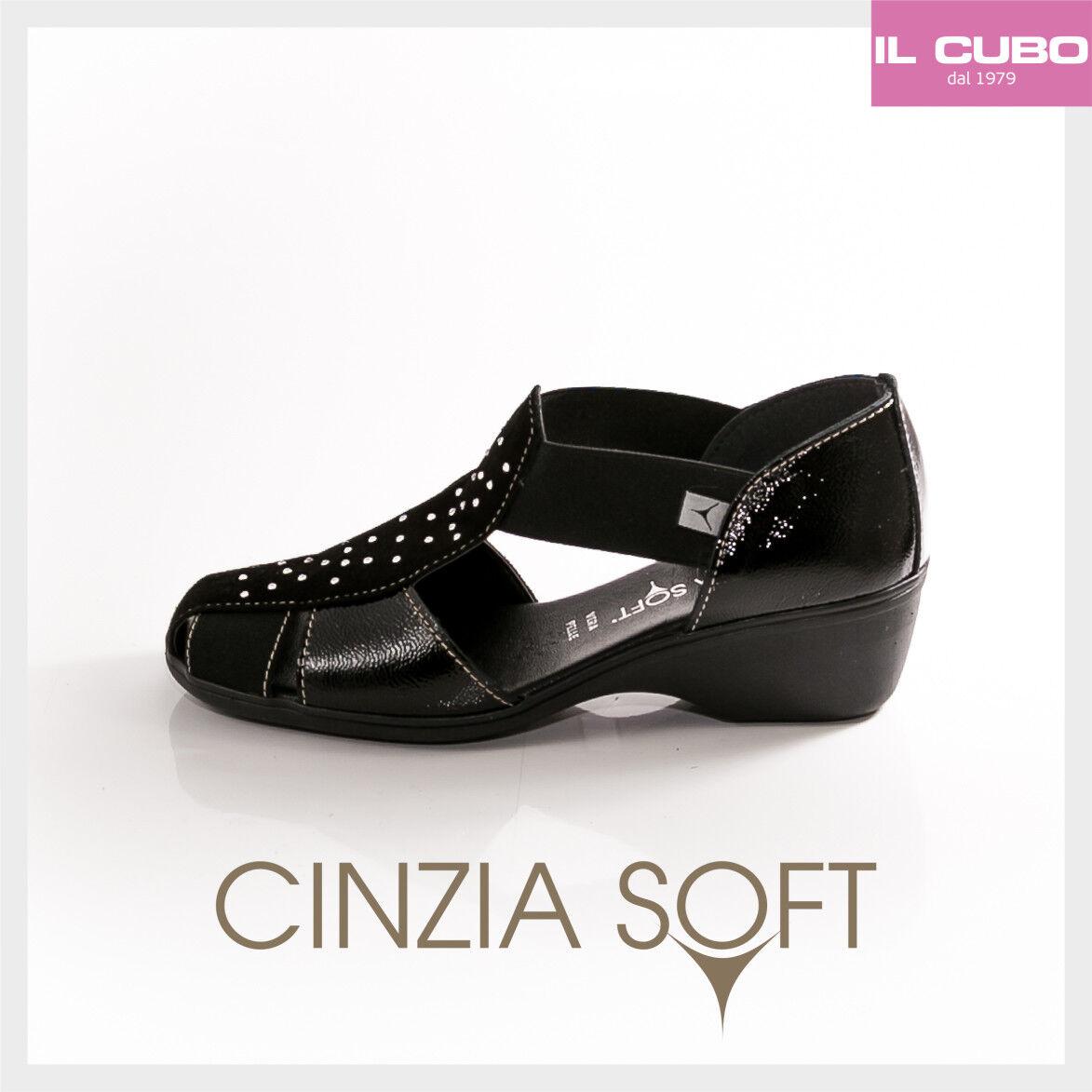 CINZIA SOFT SCARPA Damens SEMIAPERTA CAMOSCIO E VERNICE NERO ZEPPA H 4 CM M.ITALY