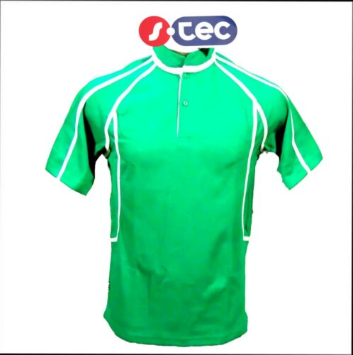 S-Tec SWI Green//White Short Sleeved Barbarians Shirt//Jersey Rugby Polo