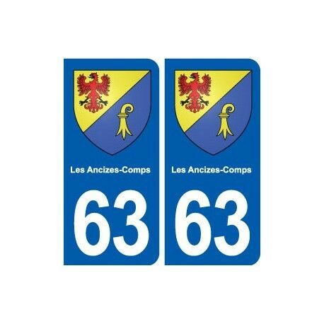 63 Les Ancizes-Comps blason autocollant plaque stickers ville droits