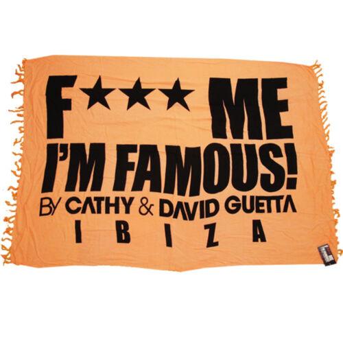 David Guetta F*** Me I/'m Famous Ibiza Sarong Logo Beach Towel Swimwear RRP £50