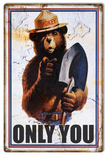 Smokey The Bear Reproduction Animal Sign 12x18
