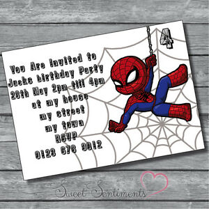 Image Is Loading Personalised Kids Spiderman Toddler Birthday Party Invitations 12