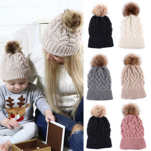 e2ddf8a2 Fashion Women's Outdoor Winter Warm Chunky Knit With Fur Pom Pom ...