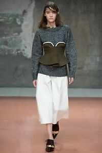 CHRISTMAS-PARTY-MARNI-Olive-Green-Structural-Ruffle-Wool-Bustier-Crop-Top-US6