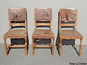 3-Antique-Spanish-Revival-Embossed-Leather-Accent-Chairs-Decorative-Nails-Pair