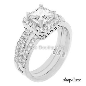 0d2e766f130 2.10 CT HALO PRINCESS CUT CZ STERLING SILVER WEDDING RING SET ...