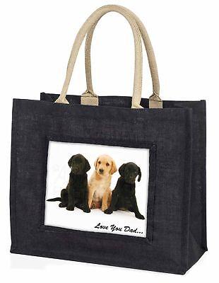 Labrador Welpen' liebe Dich Papa' große schwarze Einkaufstasche WEIHNACHTEN PR,