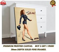 Come Fly With Me Pinup Girl Retro Canvas Wall Art Print